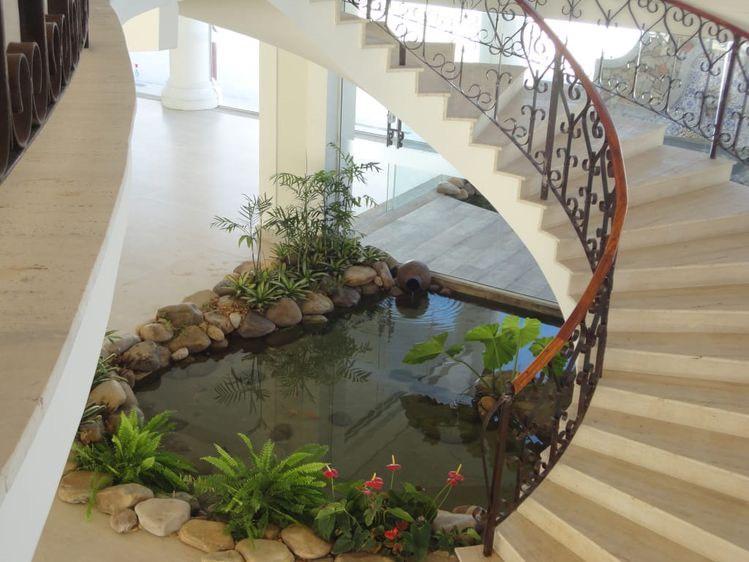 hồ cá koi mini cầu thang